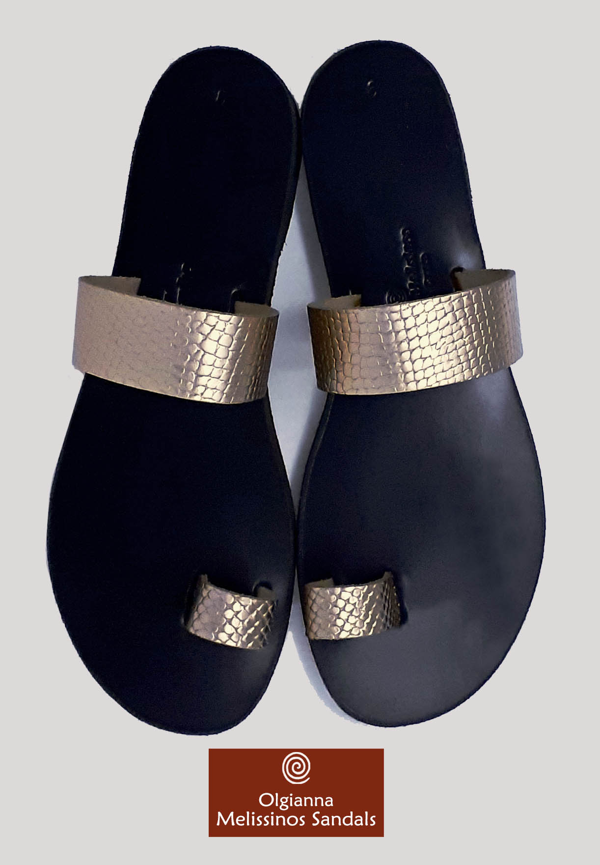 Handmade Sandals - APOLLO SNAKE GRECIAN GOLD ON BLACK 06FGGMK