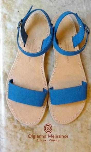 Handmade Sandals - RHEA OCEAN BLUE NUBUCK 17/22BO