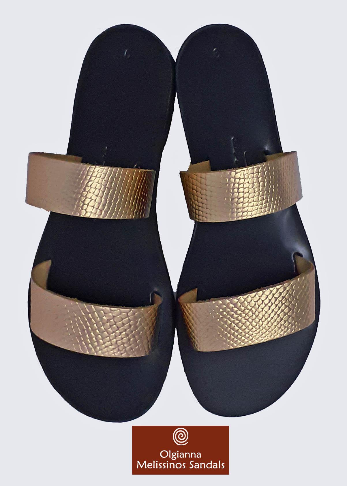 Handmade Sandals -  HERA SNAKE GRECIAN GOLD ON BLACK