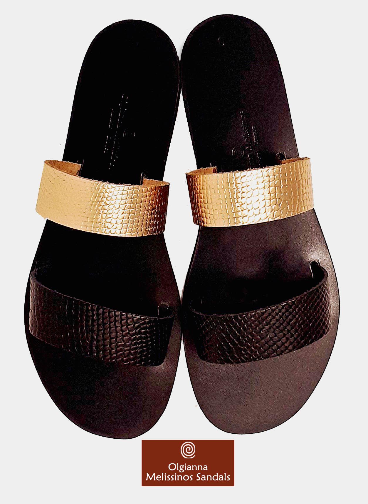 Handmade Sandals - HERA SNAKE GRECIAN GOLD & BLACK MIX 17FGGMMK