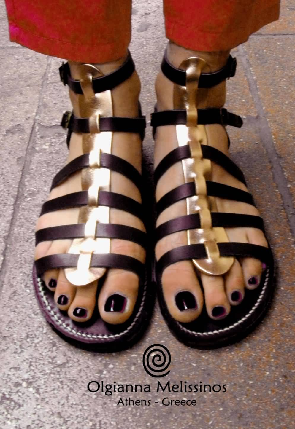 Handmade Sandals - CLEOPATRA BLACK WITH BRONZE 31MBR