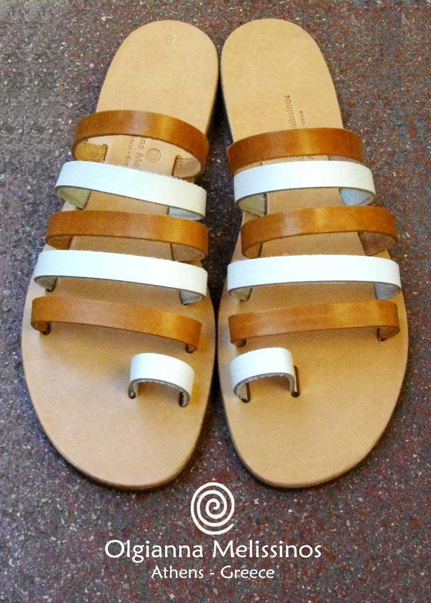 Handmade Sandals - MYRINA NATURAL WHITE 67NAK